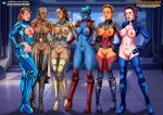 6girls avengers black_widow breasts captain_marvel exposed_breasts exposed_pussy looking_at_viewer marvel nebula no_panties palcomix partially_clothed pepper_potts pussy standing