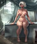 1girl 1girl 1girl android areola big_breasts blindfold breasts feet female_only hair legit-art nier nier:_automata nier_(series) nipples nude perky_breasts short_hair sword thick_thighs thighs toned video_game weapon white_hair wide_hips yorha_no.2_type_b