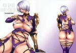 1girl armor ass blue_eyes breasts cleavage earrings enoshima_iki from_behind grabbing_own_ass hair_over_one_eye isabella_valentine ivy_valentine jewelry large_breasts leotard lips looking_at_viewer looking_back revealing_clothes sideboob silver_hair simple_background soul_calibur soulcalibur_iv stockings under_boob wide_hips