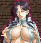 1girl armor between_breasts breasts cape cleavage covered_nipples earrings falangies green_eyes huge_breasts jewelry lips long_hair necklace nipple_tweak purple_hair toten_(artist) under_boob