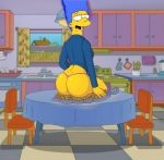 big_ass blue_hair kitchen marge_simpson milf the_simpsons