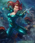 1girl aquaman_(series) arms_up blue_eyes bodysuit breasts cleavage covered_navel curly_hair dc_comics jewelry judash137 long_hair looking_at_viewer medium_breasts mera mera_(dc_comics) muscle open_mouth outstretched_arms red_hair restrained shiny shiny_clothes spread_legs superhero thighs toned underwater