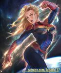 abs avenger blondie_hair blue_eyes body_suit breasts captain_marvel carol_danvers judash137 large long_hair marvel navel open_mouth skin_tight