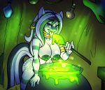 anthro areola big_breasts breasts cauldron ear_piercing equine erect_nipples female friendship_is_magic hair horse huge_breasts licking long_hair looking_at_viewer my_little_pony nipples nude piercing pony sheela smile spoon tongue tongue_out two_tone_hair zebra zecora