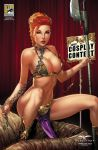 1girl breasts chain collar cosplay female female_human hutt jabba_the_hutt looking_at_viewer mostly_nude red_hair return_of_the_jedi slave_collar slave_leia_(cosplay) star_wars zenescope