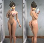 1girl ass batesz big_ass big_breasts bikini bikini_bottom bikini_top blue_nails breasts brown_eyes brown_hair bubble_butt cleavage dressing_room head_tilt legs lena_oxton looking_back mirror nail_polish navel overwatch painted_nails phone selfpic short_hair side-tie_bikini sunglasses swimsuit thighs tracer_(overwatch)
