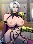 1girl armor big_breasts blue_eyes breasts breasts_outside isabella_valentine ivy_valentine large_breasts lips nipples revealing_clothes rplatt short_hair silver_hair soul_calibur thighs white_hair wide_hips