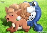 1female 1male blue_skin blush closed_eyes female_pokemon feral male_pokemon orange_fur palcomix penis_in_pussy pokemon pokepornlive poliwhirl tongue_out vulpix