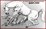 2004 animal_sex anus butt cervine crotchboob cum deer equine female feral grin hetero hooves horse horsecock klaus_doberman klaus_doberman_(artist) male moan penis raised_tail sex size_difference tail zex