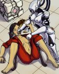 aka6 chell glados portal_(series) portal_(video_game) toes weighted_companion_cube