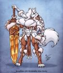 4_toes abs anthro barbarian beauty_mark biceps big_breasts black_lip black_lips black_nose blue_eyes breasts canine claws cleavage clothing dire_wolf eltonpot eltonpot_(artist) female fluffy_tail hair hindpaw huge_breasts long_hair looking_at_viewer muscle muscles muscular_female navel paws skimpy snowflake_frostfang solo sword toe_claws toes warrior weapon white_fur white_hair wide_hips wolf