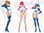 3_girls 3girls aoi_anna artist_request blush breasts cameltoe erect_nipples formal godannar momozono_momoko multiple_girls pilot_suit sasagure_konami shinkon_gattai_godannar!! skin_tight smile suit zoom_layer