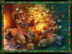 bbw big_breasts boots breasts christmas dark_skin ear_piercing earrings jewelry leshawna long_hair mole panties piercings ponytail shiny shiny_skin sierra smile topless total_drama_island underwear wagner wide_hips