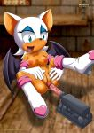 1girl mobius_unleashed nipples palcomix penis pussy rouge_the_bat sega sex_toy