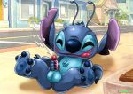 1boy alien bbmbbf blush cum disney ejaculation lilo_and_stitch masturbation palcomix penis rear_deliveries spread_legs stitch testicles tongue tongue_out