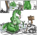 ... anthro ass big_breasts bittenhard bittenhard_(artist) blue_eyes blush bottomless breasts butt chubby cleaning clothing comic dragon embarrassing female funny half-dressed hetero lake lily_pad lizard male monster nipples nude overweight pants pointy_ears reptile scalie serpent shiny shiny_skin size_difference smile snake source_request speech_balloon spying surprise swimming voluptuous water yellow_eyes