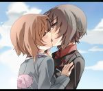 2girls anglerfish black_jacket blue_jacket blush brown_eyes brown_hair bust closed_eyes cloud dress_shirt emblem french_kiss girls_und_panzer hair incest jacket kiss kissing letterboxed long_sleeves military military_uniform multiple_girls nishizumi_maho nishizumi_miho profile red_shirt seita shirt short_hair siblings sisters sky tongue uniform upper_body yuri