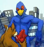 abs avian back beak biceps blue_feathers boulevard brown_fur building bulge canine city closed_eyes cute erection falco_lombardi fellatio fox fox_mccloud furry gay half-dressed humanoid_penis licking macro male muscles oral oral_sex pecs penis red_feathers saliva sex smile star_fox testicles tongue topless underwear video_games