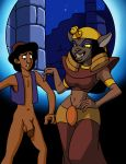 1female 1male aladdin aladdin_(series) anthro black_hair bottomless cat clothed clothing dboy disney feline female flaccid grin hair half-dressed human male mirage_(aladdin) navel penis smile testicles yellow_sclera