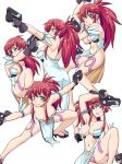 1girl akimbo bad_id bare_shoulders blush breasts character_sheet cleavage dual_wield dual_wielding earrings fingerless_gloves gloves green_eyes gun hands_on_hips haou_airen heart heart_maebari himeki_luna hinemosu hinemosu_notari jewelry large_breasts legs long_hair looking_at_viewer maebari no_bra one_eye_closed parody pelvic_curtain ponytail red_hair revealing_clothes simple_background smile solo vanguard_princess weapon white_background wink