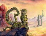 2013 anthro armadillo_lizard breasts closed_eyes desert female green_scales lizard nipples nude on_front outside reptile ruaidri scalie smile solo