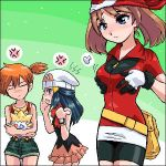 3girls bandanna bike_shorts blue_eyes blue_hair breast_envy brown_hair dawn gloves hair haruka_(pokemon) hikari_(pokemon) kasumi_(pokemon) multiple_girls orange_hair pokemon pokemon_(anime) togepi watch