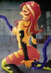 1girl blush closed_eyes equestria_girls female friendship_is_magic imminent_anal imminent_vaginal kneel long_hair mostly_nude my_little_pony no_bra open_mouth sideboob sunset_shimmer sunset_shimmer_(eg) tentacles torn_clothes uotapo