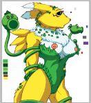 breasts canine cosplay costume cute digimon female fox furry model_sheet nipples plants poison_ivy renamon vines yawg