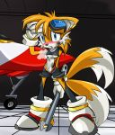 """blush breasts c3 clothing cute eyewear female furry girl gloves goggles jet mature miles_""""tails""""_prower multiple_tails panties panting sega shirt shoes shorts sonic_(series) sweat tail tails_miles_prower thong underwear white_crest wrench wrings x_tornado"""
