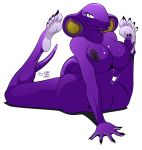 2011 anthro arbok ass barefoot big_breasts breasts claws cobra fangs female green_eyes grey hindpaw huge_breasts looking_at_viewer lying markings nails navel nintendo nipples nude on_stomach paws plain_background plantigrade pokemon pokemorph purple purple_body purple_nipples red reptile scalie sebrina_arbok smile snake solo spread_legs spreading tail teeth thighs ticklishways video_games white_background wide_hips yellow zp92