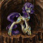 1girl armour cave crystal equine fim friendship_is_magic gem_cutie_mark looking_up mlp my_little_pony rarity_(mlp) rock solo unicorn