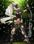 1girl animal_ears armor ass bow_(weapon) bracer breasts bunny_ears dark_skin final_fantasy final_fantasy_xii fingernails fran from_behind full_body greaves helmet high_heels highres lips long_fingernails long_hair nose planted_weapon red_eyes revealing_clothes scrunchie setsuna22 sharp_fingernails sideboob solo standing viera weapon white_hair