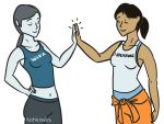 2girls chell navel nintendo portal_(series) portal_2 wii wii_fit wii_fit_trainer