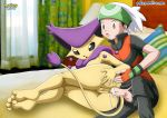 anal anal_sex ass ass_grab bed bedroom blush brendan butt closed_legs cum cum_in_ass delcatty feet feline horny pokemon pokephilia pokepornlive pussy soles tail white_hair yuuki_(pokemon)
