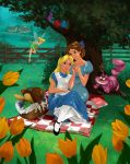 alice alice_in_wonderland breasts cheshire_cat crossover disney food mandygirl78_(artist) peter_pan picnic smile tinker_bell wendy_darling