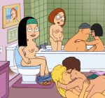 american_dad bath bathroom bob's_burgers breast_slap crossover family_guy funny gif hayley_smith king_of_the_hill kissing large_group lois_griffin luanne_platter meg_griffin peggy_hill talking teddy tina_belcher toilet