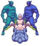 1girl 3boys animated animated_gif blue_skin bouncing_breasts breasts censored chijoku_no_troll_busters circlet crying double_handjob elf gangbang gloves group_sex handjob hetero inflation large_breasts monster mosaic_censoring multiple_boys nipples nude orc penis pixel_art pointy_ears pregnant rape red-p sex size_difference stomach_bulge troll vaginal