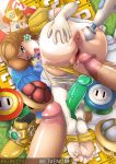 1girl 2boys ass brown_hair crown dildo earrings erection gloves hand_on_ass imminent_sex looking_at_viewer looking_back male/female mostly_nude panties panties_around_legs panties_down pantyhose pantyhose_down penis presenting_hindquarters princess_daisy pussy sex_toy super_mario_bros. top-down_bottom-up vibrator wetvenom yellow_panties