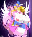 1girl areolae artist_name bangs big_breasts blonde_hair blush breasts checkered checkered_background chubby clothed clothing dark_magician_girl dragon dragon_tail duel_monster fat female furry gigantic_breasts green_eyes hair half-dressed hat hexagram highres horn horns jewelry large_areolae long_hair necklace open_clothes pentagram pussy pussy_juice skirt skirt_lift solo star_of_david sweat tail tattoo transformation tribal_tattoo undressing wet_pussy wings yellow_eyes ymbk yu-gi-oh! yuu-gi-ou