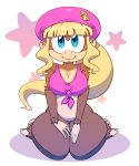 1girl 2013 benhickling beret big_breasts blonde_hair blue_eyes bottomless breasts brown_fur cap cleavage clothing dixie_kong donkey_kong donkey_kong_(series) donkey_kong_country donkey_kong_country_2 female fur hair hat hindpaw hips kneeling long_hair looking_at_viewer monkey nintendo nitro no_humans paws ponytail primate shirt smile solo tank_top thick_thighs thighs wide_hips