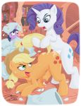 applejack_(mlp) black_and_white blonde_hair blue_eyes book cowboy_hat cum cum_inside cutie_mark dizzy doggy_position dtiberius_(artist) equine erection eyelashes female feral freckles from_behind futanari green_eyes hat heart horn horse indoor intersex looking_back my_little_pony my_little_pony:_friendship_is_magic nearphotison_(artist) open_mouth penetration penis pillow pony precum purple_eyes purple_hair rarity_(mlp) sweat tail_pull tongue tongue_out twilight_sparkle two_tone_hair uncut unicorn yuri