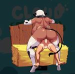 1boy 1girl animal_ears ass bouncing_breasts breasts brown_hair cloud_meadow collar cow_ears cow_girl cow_horns cow_print cow_tail dark_skin elbow_gloves erection femdom gif girl_on_top gloves haystack horns huge_ass huge_breasts interspecies large_penis monster_girl nude parted_lips penis s-purple sex short_hair sideboob size_difference smile stockings tail testicle vaginal white_hair