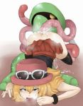 1girl 5_fingers ahegao anthro anthro_on_feral ass ass_up bent_over bestiality blonde_hair blush boy_(artist) boy_(badboy3316) clothed clothed_sex clothing cradily cum cum_inside cum_on_ass drooling eyelashes eyewear female feral flower glasses green_eyes hair half-dressed hat headgear hetero highres human interspecies long_hair looking_up lying male nintendo no_panties on_front penetration plain_background plant pokemon pokemon_(game) pokemon_xy pokephilia saliva serena serena_(pokemon) sex shadow shiny skirt skirt_lift sunglasses sweat teeth tentacle tentacles thighhighs video_games white_background wristband yellow_eyes