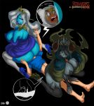 1boy 2girls adventure_time ass big_breasts black_hair blonde_hair blue_skin breasts crown facesitting finn_the_human genderswap hood horns huge_ass ice_queen maniacpaint marceline sex the_lich white_hair
