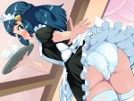1_female 1_girl 1girl ass blue_eyes blue_hair blush boris_(noborhys) clothed dawn_(pokemon) eye_contact female female_human female_only headdress human long_hair looking_at_viewer looking_back looking_down maid maid_headdress maid_uniform open_mouth panties plate pokemon pokemon_dppt skirt thick_thighs tongue upskirt white_panties white_underwear wide_hips