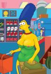 big_breasts blue_hair breasts_outside green_dress marge_simpson the_simpsons