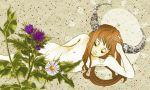 1girl bad_id female flower horns ibuki_suika long_hair lying nipples nude solo suika_ibuki takashiba_(takashiba_souko) takashidehanai touhou