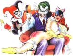 batgirl crying dc harley_quinn spank spanked spanking tears the_joker