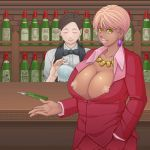 2girls a-tama android_18 aratama_(a-tama) bald beard bottle bow bowtie breasts brown_hair bursting_breasts cameo cleavage closed_eyes dark_skin dragon_ball dragon_ball_z earrings facial_hair female hair huge_breasts jewelry key large_breasts lips looking_at_viewer majin_buu mole mole_under_eye mr._satan multiple_girls mustache muten_roushi necklace nipple_slip nipples no_bra old_man open_clothes open_mouth open_shirt pink_hair shirt smile sunglasses thick_lips wine_bottle yellow_eyes