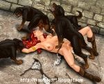 1girl 4boys bestiality bite boots breasts closed_eyes cum cum_in_mouth cum_in_pussy cum_leaking cum_on_ground cum_pool dog erection fellatio female female/feral forced hair hairless_pussy hetero human indoors interspecies long_hair lying male male/female males mostly_nude multiple_boys nipples nude oral penis penis_in_pussy pussy rape red_eyes red_hair red_sonja rosselito_(artist) rottweiler sex spread_legs tears testicles vaginal vaginal_penetration